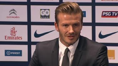 David Beckham, lors de sa conférence de presse d'arrivée au PSG le 31 janvier dernier.