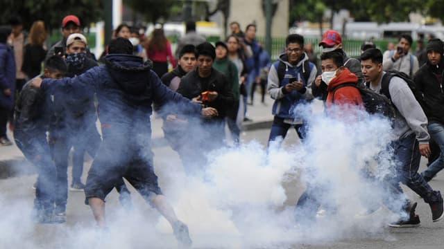 Des manifestants à La Paz, le 13 novembre dernier en Bolivie.