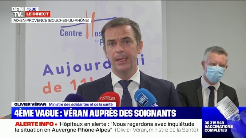 """Olivier Véran à hôpital d'Aix-en-Provence: """"Après le temps de la vague épidémique, est venu le temps de la vague hospitalière"""""""