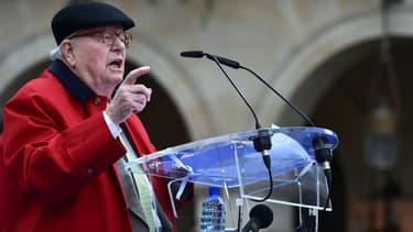 Le fondateur et président d'honneur du Front national Jean-Marie Le Pen, pendant son discours en l'honneur de Jeanne d'Arc le 1er mai 2017.