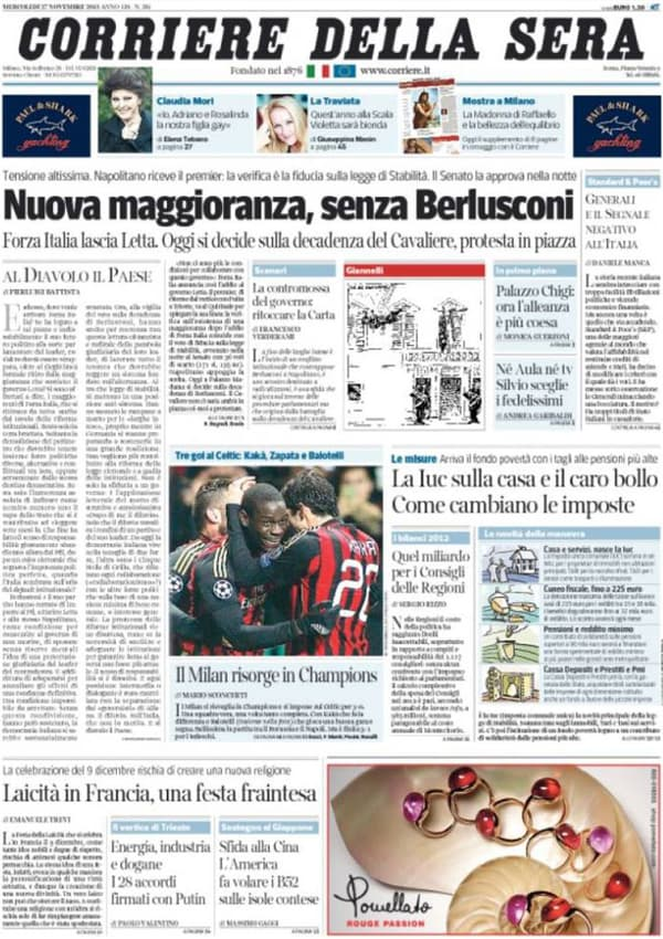 La une du Corriere de la Sera du 28 novembre.