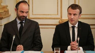 Edouard Philippe et Emmanuel Macron lors d'une réunion à l'Elysée, le 30 octobre 2017