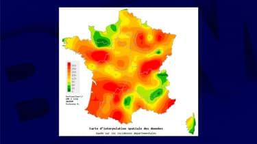 La carte de l'activité des diarrhées aiguës en France sur la semaine du 9 au 15 décembre