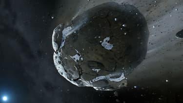 Représentation d'un astéroïde.
