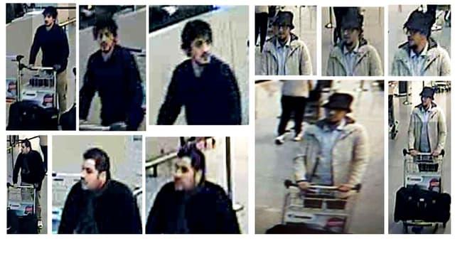 Les trois suspects des explosions à l'aéroport de Bruxelles ont été filmés par les caméras de surveillance.