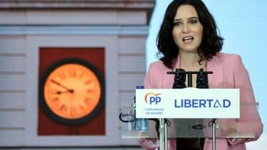 Meeting de clôture de campagne pour la présidente de la région de Madrid Isabel Diaz Ayuso, candidate à sa réélection, le 2 mai 2021.