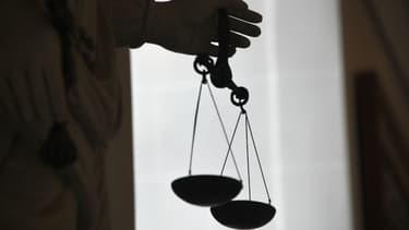 La balance de la justice, au tribunal de Rennes, le 19 mai 2015