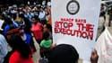 Manifestation de protestation contre l'exécution de Troy Davis, à Atlanta, aux Etats-Unis. Cet Afro-Américain de 42 ans devrait être exécuté mercredi par injection létale, la justice de l'Etat de Géorgie ayant refusé de le gracier. Sept des neuf témoins d