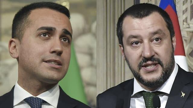 Le leader du M5S, Luigi Di Maio, et celui de la Ligue du Nord, Matteo Salvini.