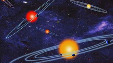 Vue d'artiste d'exoplanètes en orbites autour de leurs étoiles respectives.