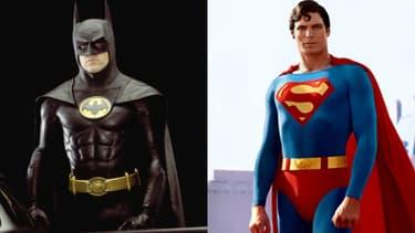 Michael Keaton dans la peau de Batman, Christopher Reeve dans celle  de Superman