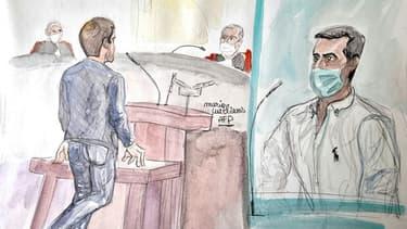 Un ancien partenaire (g) de Nordahl Lelandais témoigne devant la cour d'assises de l'Isère, à Chambéry, le 4 mai 2021