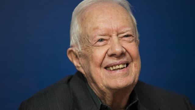 L'ancien président des Etats-Unis Jimmy Carter pendant une dédicace de livres à New York, le 26 mars 2018
