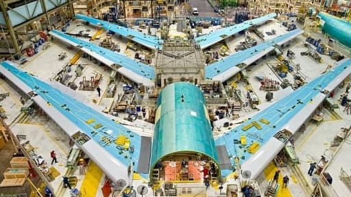 Un Boeing 747 en train d'être assemblé.