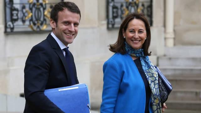 Emmanuel Macron et Ségolène Royal quittant l'Elysée, le 30 mars 2016.