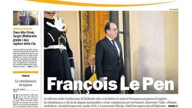 """La """"une"""" du quotidien Il Manifesto du 24 décembre 2015."""