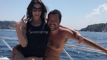 Matteo Salvini avec sa compagne.