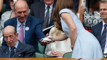 Kate Middleton et Stan Smith à la finale hommes de Wimbledon, le 14 juillet 2019