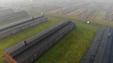 Vue aérienne du camp d'Auschwitz II - Birkeneau (Pologne), le 15 décembre 2019.