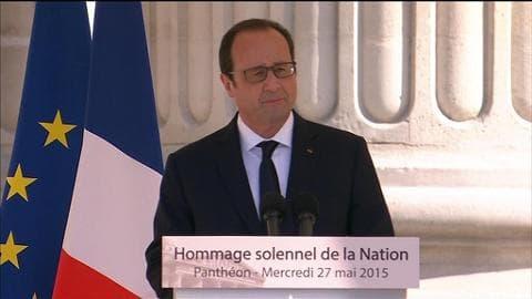 """Hollande au Panthéon: """"Aujourd'hui, la France a rendez-vous avec le meilleur d'elle-même"""""""