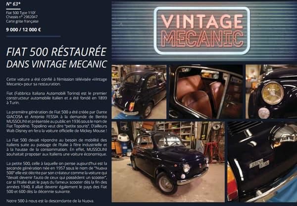 La Fiat 500 restaurée dans VIntage Mecanic