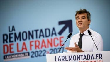 L'ancien ministre socialiste Arnaud Montebourg, candidat à l'élection présidentielle, lors de son discours à la fête de la Rose de Frangy-en-Bresse (Saône-et-Loire), le 25 septembre 2021