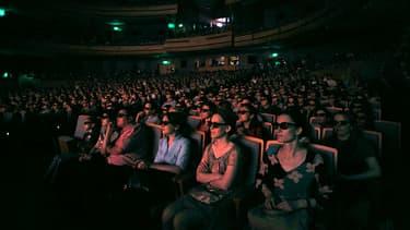 Une projection en 3D à Saint-Petersbourg en juin 2013.