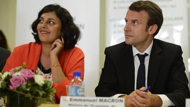 Myriam El Khomri et Emmanuel Macron le 6 juillet 2015 à Marseille.