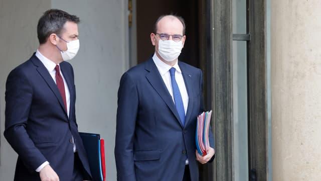 Olivier Véran et Jean Castex, au palais de l'Élysée le 10 mars 2021.