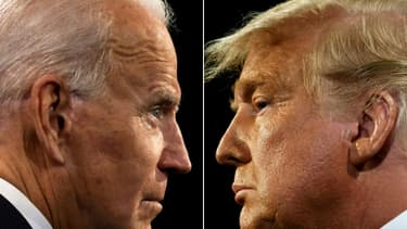 Joe Biden et Donald Trump, durant leur dernier débat de la campagne pour la présidentielle américaine à Nashville, dans le Tennessee, le 22 octobre 2020
