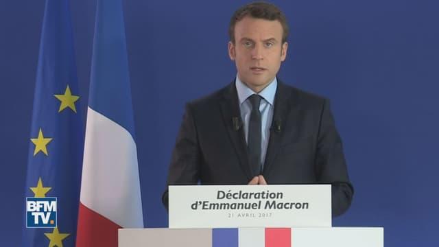 Emmanuel Macron s'exprime vendredi 21 avril au lendemain de l'attaque des Champs-Elysées.