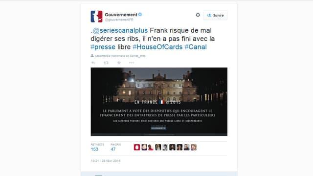 Le compte twitter du gouvernement s'est amusé avec la sortie de la saison 3 de House of cards samedi après-midi