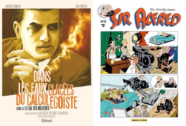 Couvertures de BD sur Luis Bunuel et Alfred Hitchcock