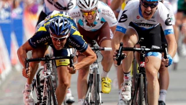 Romain Feillu à la lutte avec Tyler Farrar lors de la 3e étape