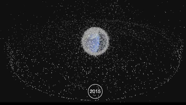 Depuis Spoutnik en 1957, l'espèce humaine a fait de son environnement spatial immédiat un vaste dépotoir de débris issus de la conquête spatiale et des expérimentations scientifiques.