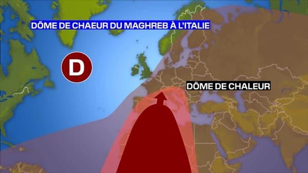 Dôme de chaleur actuel présent du Maghreb à l'Italie