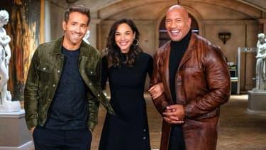Ryan Reynolds, Gal Gadot et Dwayne Johnson dans une vidéo annonçant la sortie des blockbusters de Netflix de 2021