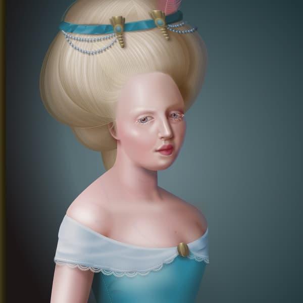 L'un des portraits d'Anna Smith reprend les codes de la fin du XVIIIe siècle.