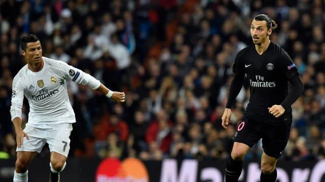 Cristiano Ronaldo et Zlatan Ibrahimovic, lors de Real Madrid-PSG en 2015