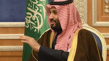 Le Prince Mohammed ben Salmane le 13 janvier 2019. Il recevait alors à Riyad le secrétaire d'État américain Mike Pompeo.