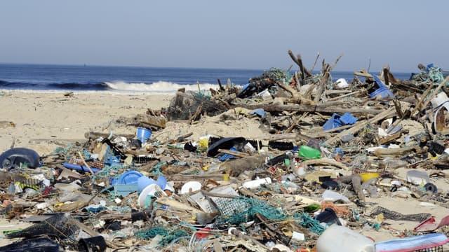 Des déchets rejetés par la mer sur la plage de Mimizan, dans le sud-ouest de la France, en mars 2014