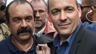 De gauche à droite, le patron de la CGT Philippe Martinez et celui de la CFDT Laurent Berger.