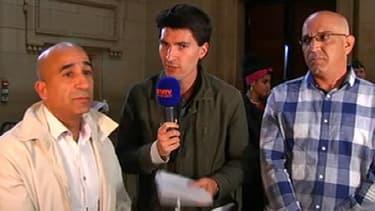 Abderrahim el-Jabri et Abdelkader Azzimani au micro de BFMTV  après la révision de leur procès mercredi 15 mai.