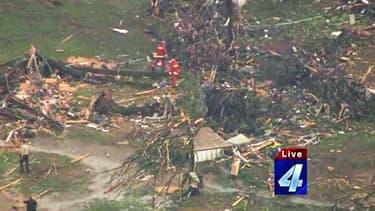 Une tornade s'est abatue sur un groupe de mobil homes, dimanche 19 mai, toujours dans le territoire de l'Oklahoma.