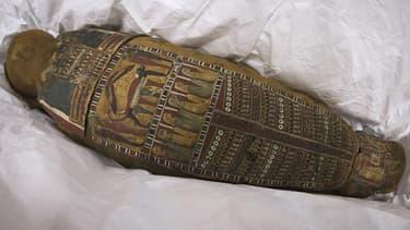 La momie Ta-Iset retrouvée dans une poubelle de Rueil-Malmaison (Hauts-de-Seine), le 11 mai 2015