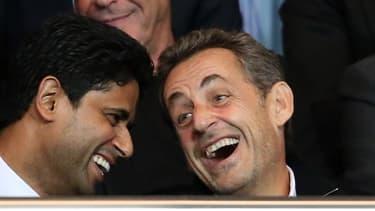 Nicolas Sarkozy -ici avec le patron de BeIN Sports Nasser Al-Khelaifi- aurait joué les messagers avec le Qatar