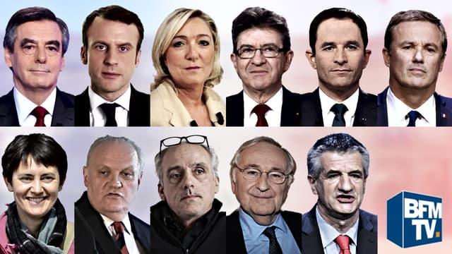 Les onze candidats à l'élection présidentielle