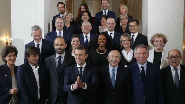 La photographie officielle du gouvernement Edouard Philippe, le 18 mai 2017 à Paris.