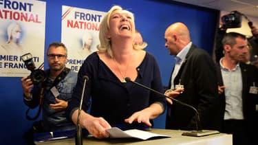 Européennnes: Marine Le Pen, dimanche soir, après l'annonce des premiers résultats du scrutin