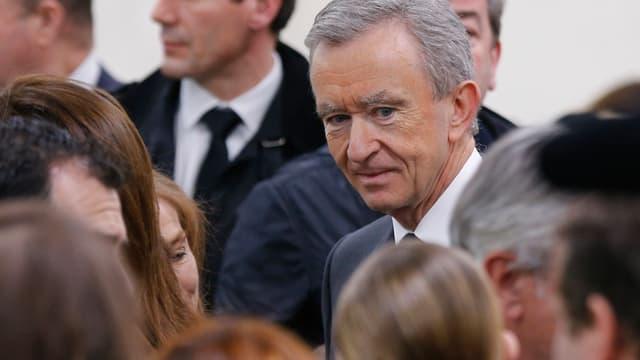 Bernard Arnault, le patron de LVMH, au défilé Dior printemps-été 2014.